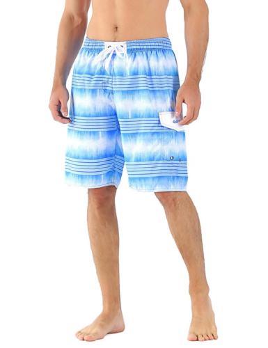 Unitop Men's Board Shorts Hawaiian Tropical Striped Sports S