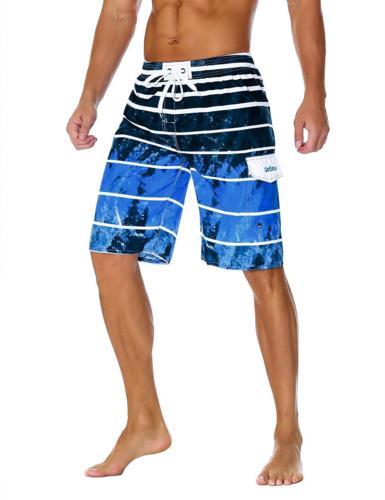 Unitop Quick Dry Striped Swim Trunks Blue-1