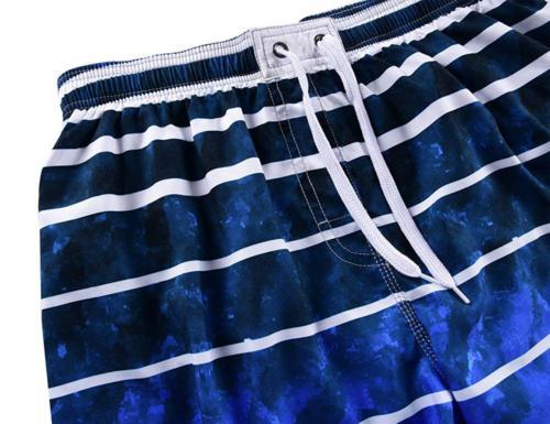 Unitop Men's Board Quick Dry Striped Swim Trunks Drawstring 36