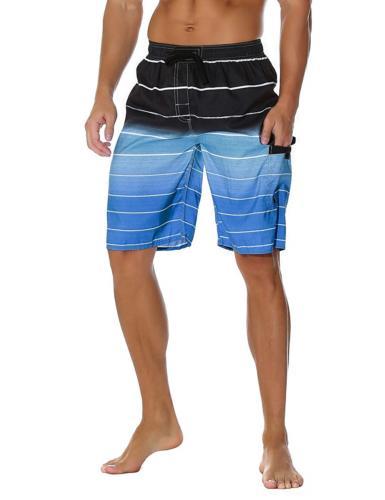 Unitop Men's Board Shorts Swim Trunks Quick Dry Striped with