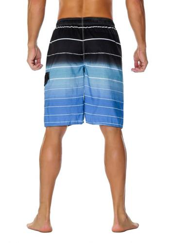 Unitop Men's Board Shorts Swim Trunks Quick Striped with Lining