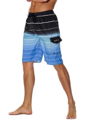 Unitop Men's Board Swim Trunks Dry Striped Blue-42