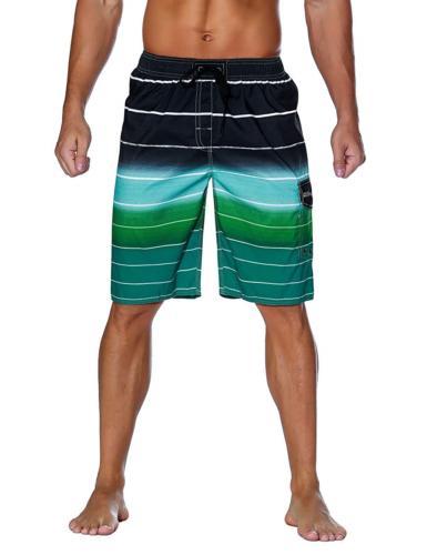 Unitop Men's Colortful Striped Swim Trunks Flag Beach Board