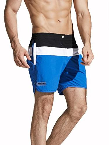 Neleus Men's Swimming Long Boardshorts Pockets,719,Blue,XL,Tag
