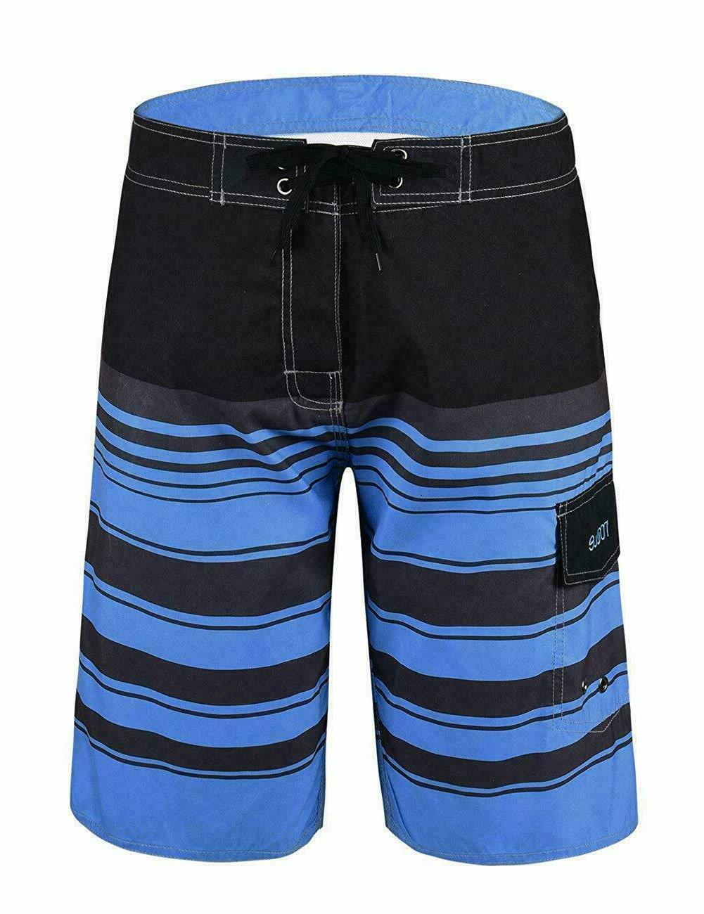 Nonwe Men'S Quick Dry Swim Trunks Colorful Stripe Beach Shor