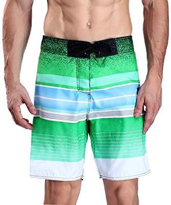 Milankerr Men's Stripe Boardshort Limegreen