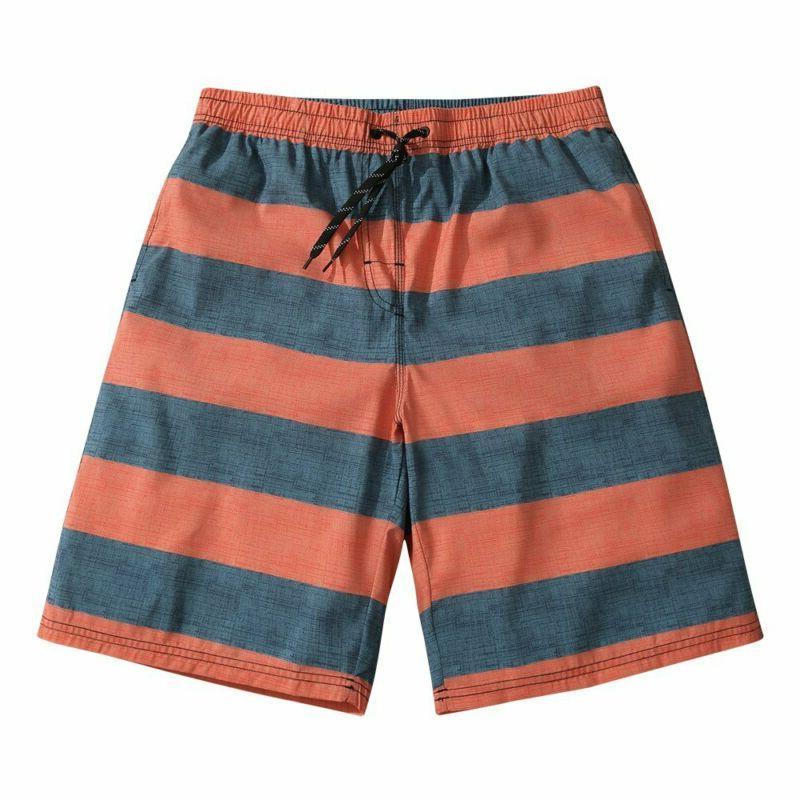 Men's Ultra Quick Dry Orange Gray Stripes Board Shorts Large