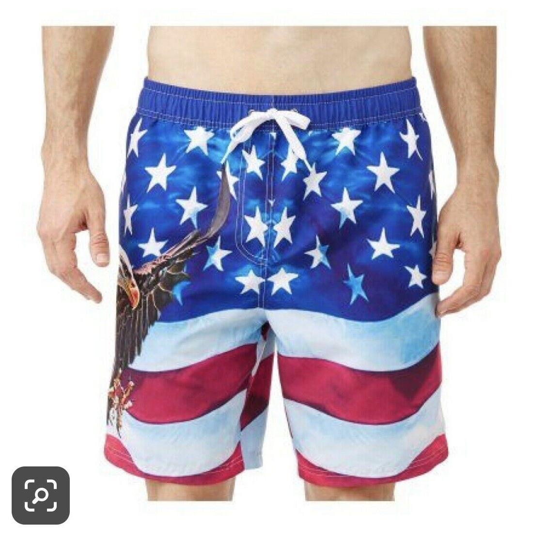 **ON SALE** Men's American Flag Trunks Board Shorts NWT BALD DESIGN