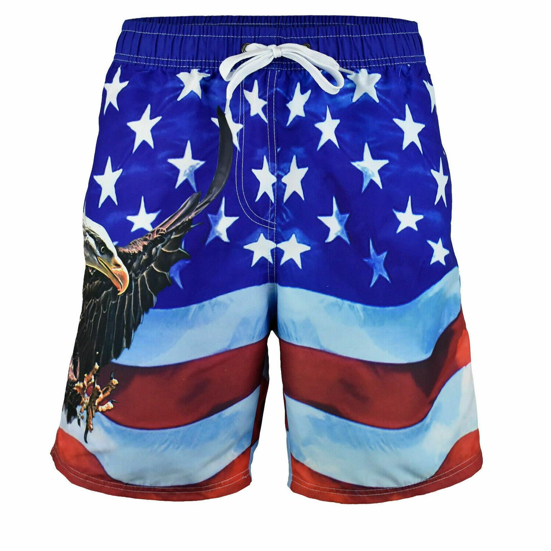 mens american flag swim trunks board shorts