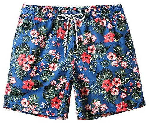 mens quick dry floral swim trunks