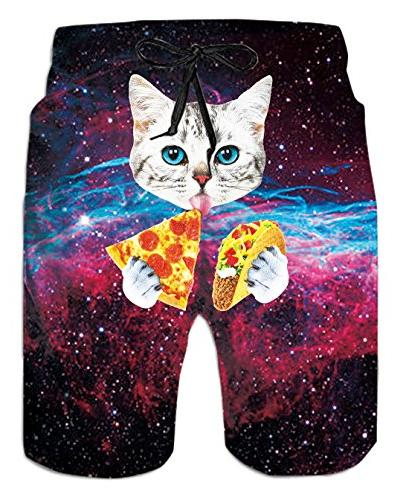 Boardshorts Trunks Galavey Pizza Cat