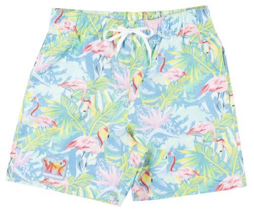 television flamingo swim trunks board shorts mens