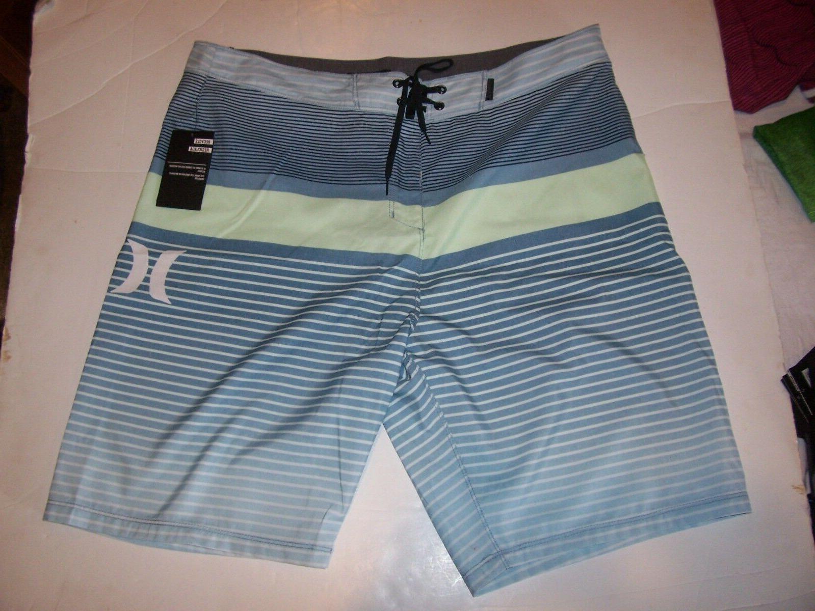New HURLEY Line blue stripe stripe board shorts swim sz 36