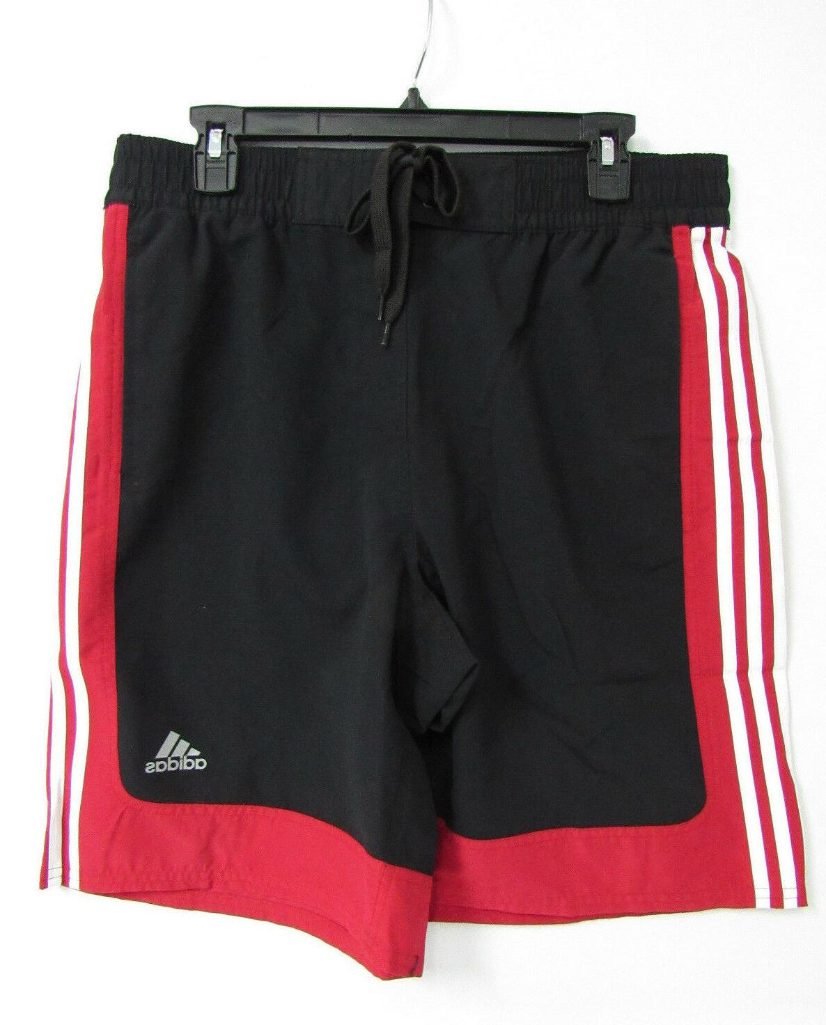 New Adidas Men/'s Amped Volley Board short Swim Shorts Striped Size LARGE