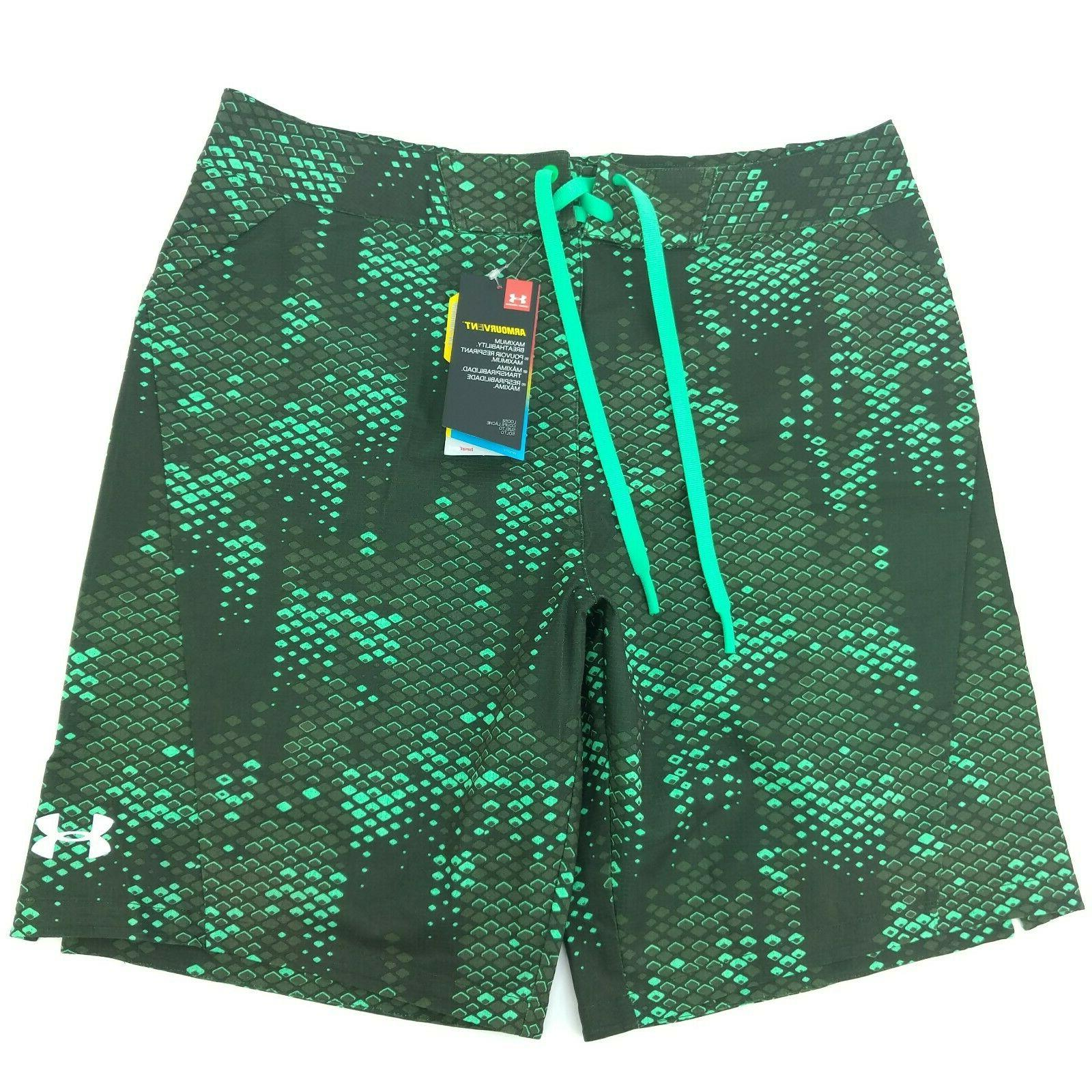 new mens 34 heatgear green board shorts