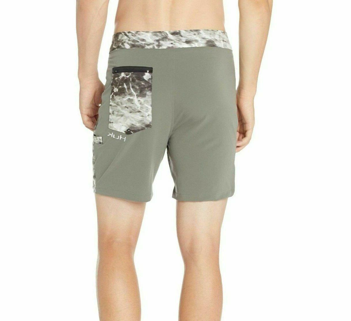 NWT HUK Performance Elements Swim Size Olive Shorts