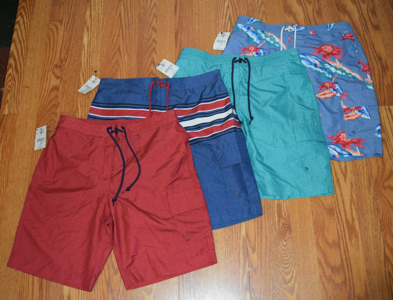 nwt mens cargo swim trunks blue red