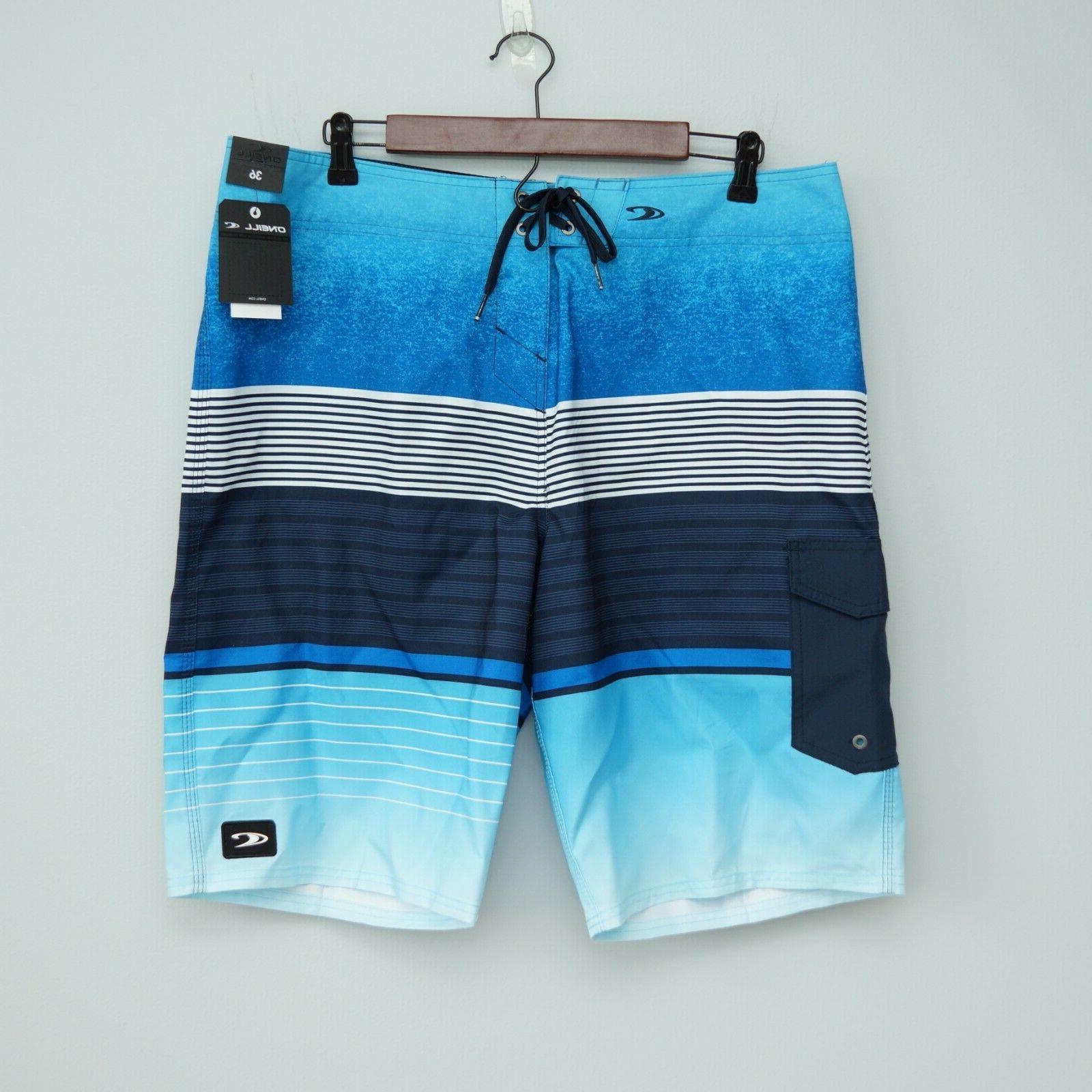 NWT Swim Stripped Board Shorts 36