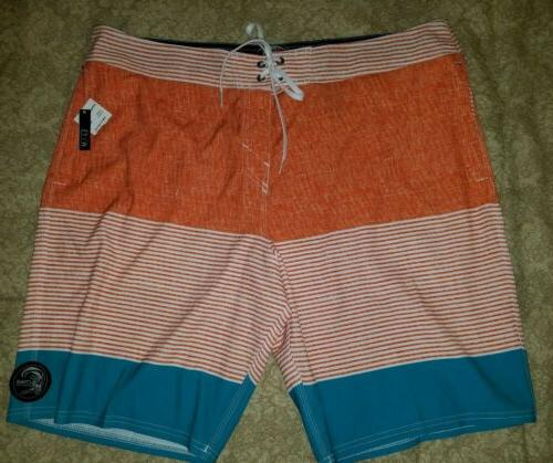 o neill orange white teal board shorts