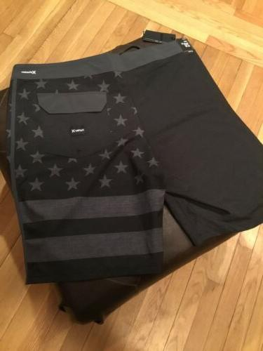 Hurley Mens Board Shorts 34W Black MSRP Brand New