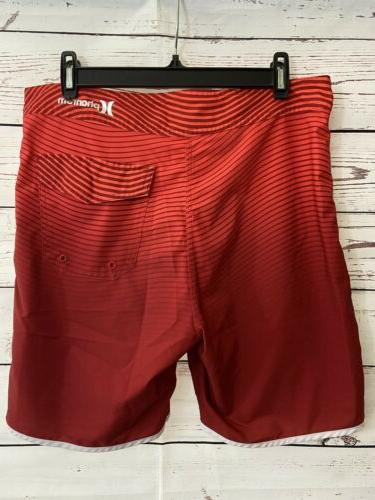 HURLEY Team Pluribus Unum Boardshorts 32 Red Fade Striped