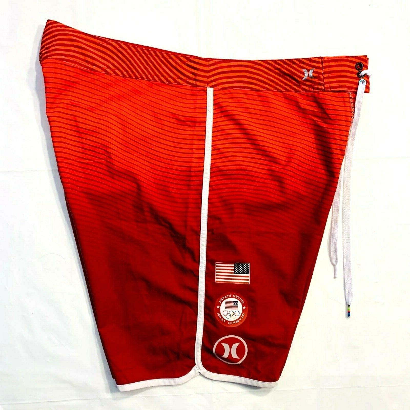 HURLEY Phantom USA Olympic Team Swim Trunks 36 Surfing Red