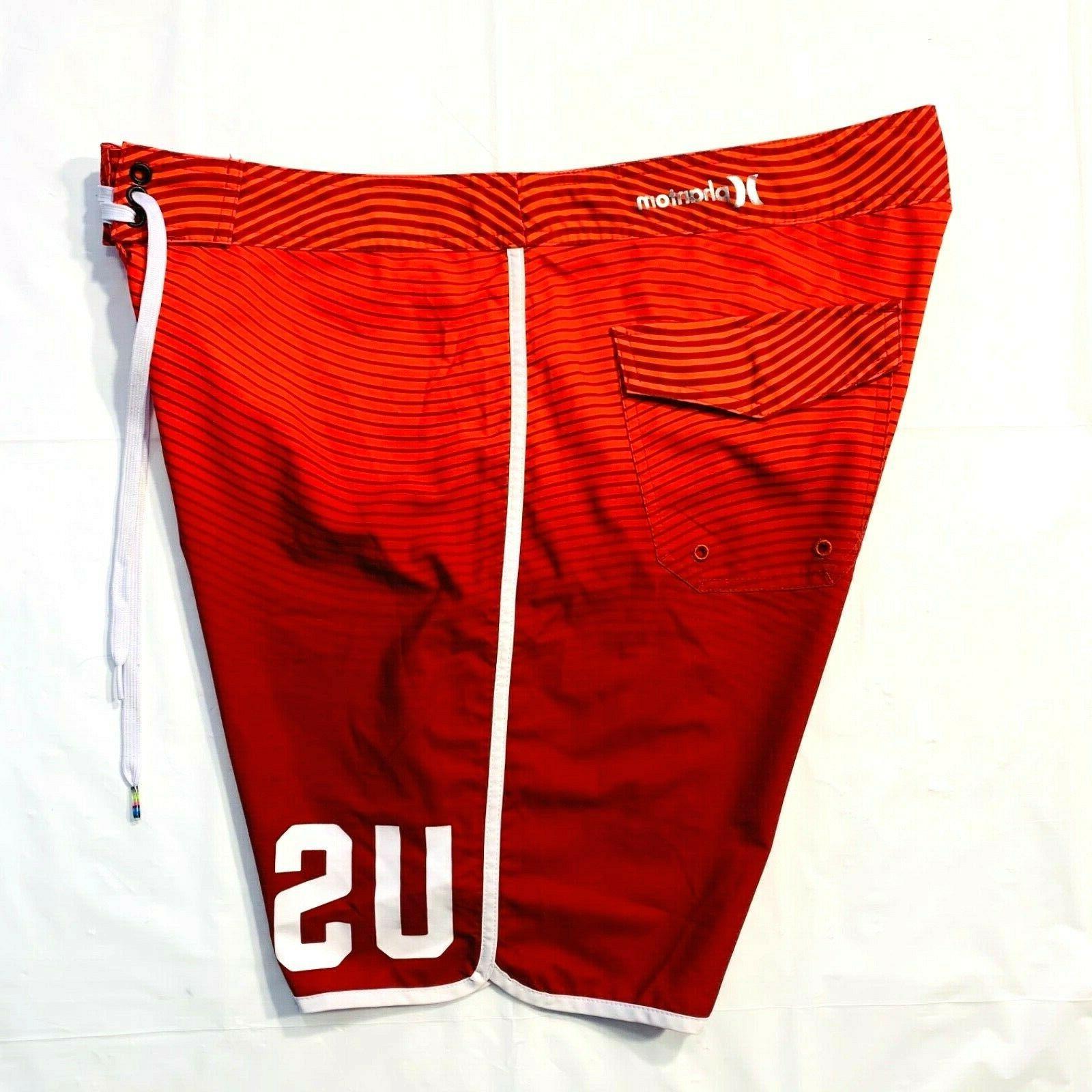 HURLEY Team Swim Trunks 36 Red