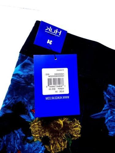 HUK Black Floral Shorts Size