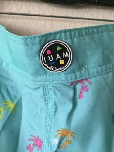 Maui And Shorts Sz 30 Blue Boardshorts Retro NWT