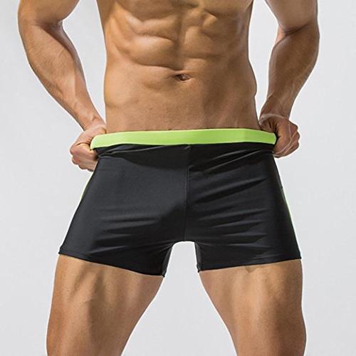 Elogoog Swim Trunks, Swimming Brief Color Block Slim Wear Swim Boardshorts