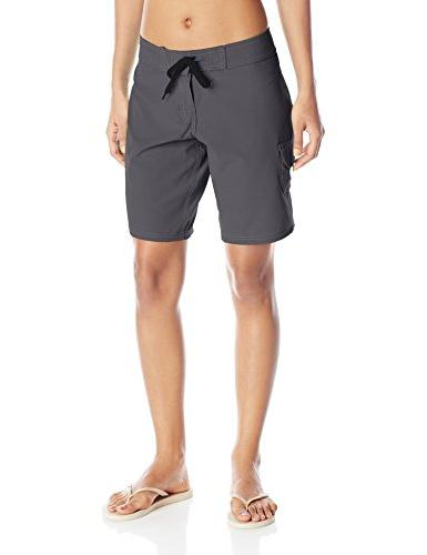 women s marina solid stretch boardshort charcoal