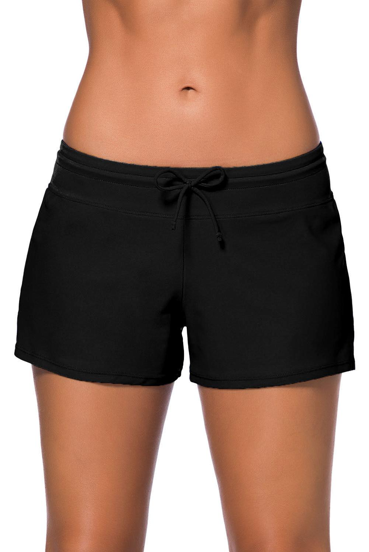Women Solid Black Drawstring Waist Shorts S-3XL