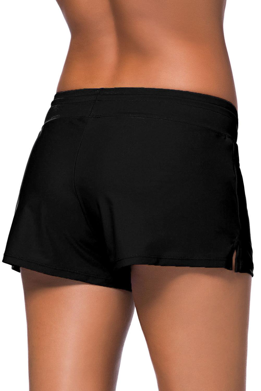 Women Black Drawstring Swim Shorts