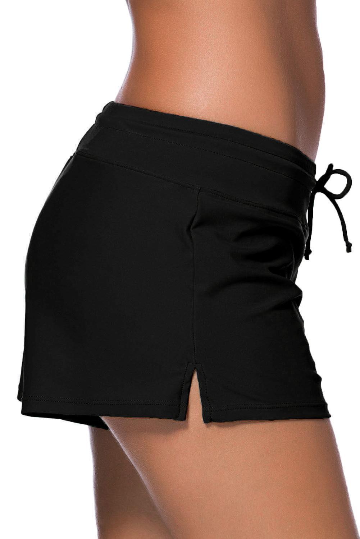 Women Black Drawstring Waist Bikini Swim Shorts S-3XL