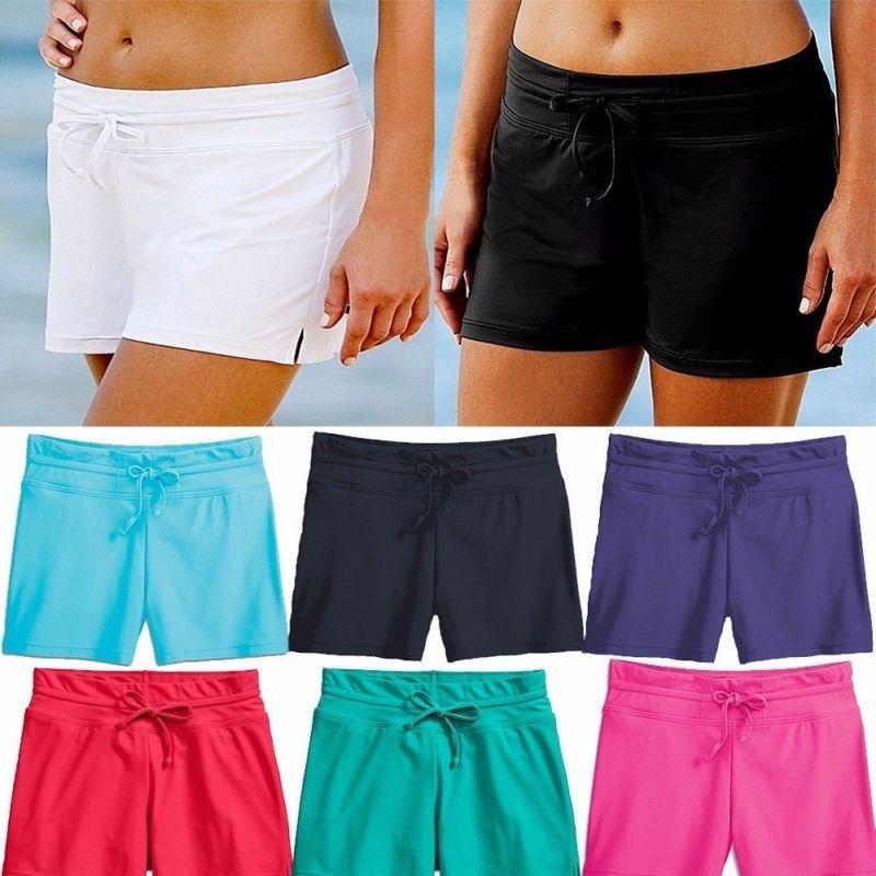 Women Swim Shorts Bottom Boy Style Boardshorts
