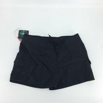 womens board swim shorts black drawstring flap