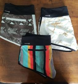 LOT OF 3 New Hurley Women's Phantom Boardshorts shorts rashg
