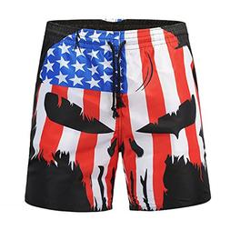 Hot Sale! Men Casual Boardshorts Skull USA Flag Printed Shor