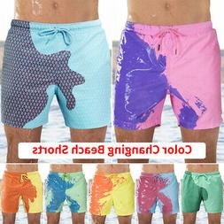 Men Color Changing Trunks Swimming Shorts Beach Swim Shorts