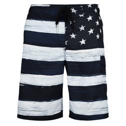 MEN'S American FLAG  SWIM TRUNK BOARD SHORTS Black & White O