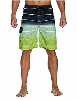 Nonwe Men's Beachwear Quick Dry Holiday Drawstring Striped,