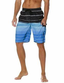 Nonwe Men's Beachwear Quick Dry Striped Board Shorts Blue 32