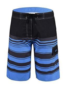 Unitop Men's Beachwear Striped Plaid Surfing Board Shorts Qu