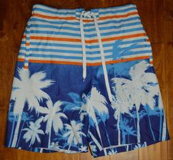 Men's Original Deluxe Blue White Stripe Palm Trees Swim Boar