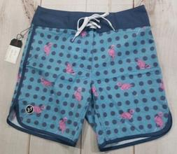 Ezekiel Men's Blue with Pink Flamingo Board Flamingo Dots Sh