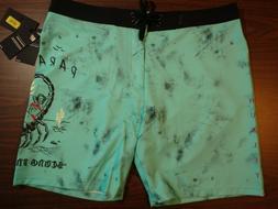 Hurley Men's Board Shorts - 18 inch Length - Aqua/Black grun