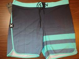 Hurley Men's Board Shorts - 18 inch Length - Blue/Aqua lined