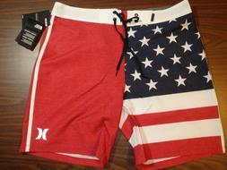 Hurley Men's Board Shorts - 18 inch Length - American Flag p