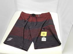 Dahui Men's Board Shorts, Grey / Burgandy Stripe, 32