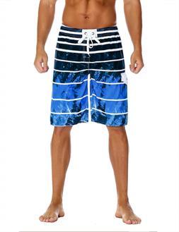 Unitop Men's Board Shorts Quick Dry Striped Swim Trunks Draw